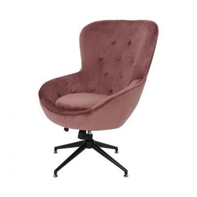 Bársony irodai fotel, púderrózsaszín - PASHA